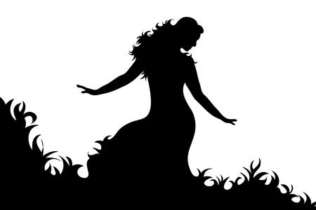 Vector silhouette of woman who dance on white background.