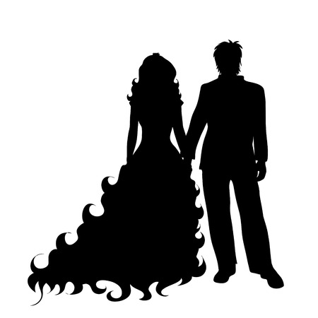 Vector silhouette of bride with groom on white background. Vector Illustration