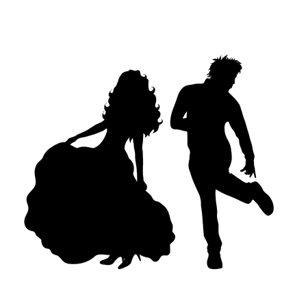 Vector silhouette of bride with groom on white background. Illustration