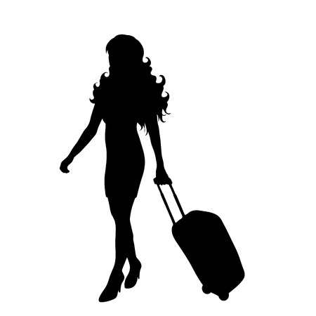 Vector silhouette of woman who travel with suitcase on white background.