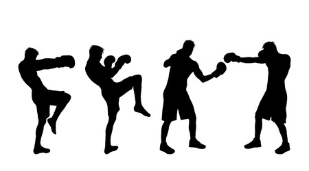Vector silhouette of man who boxing on white background. Vettoriali