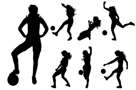 Vector silhouette of woman who play volleyball on white background.