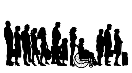Vector silhouette of group of people on white background.