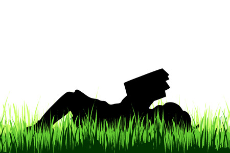 Vector silhouette of girl who read book on a meadow on white background.