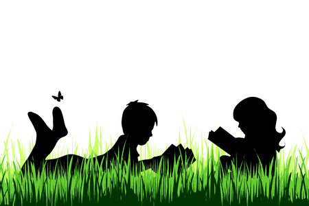 Vector silhouette of girl and boy who read book on a meadow on white background.