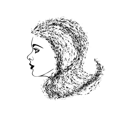 Vector illustration of a woman profile on white background.