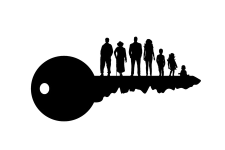 Vector silhouette of key with family on white background.
