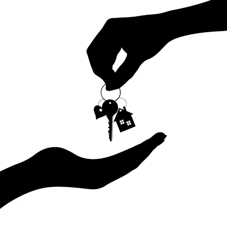 Vector silhouette of hand give of keys from the house other people.