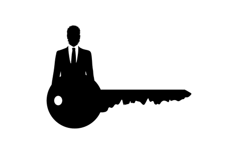 Vector silhouette of key with businessman on white background.