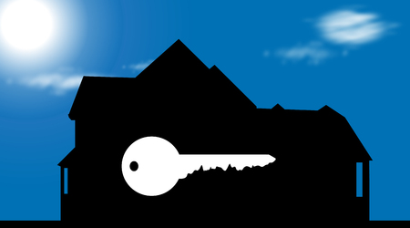 Vector silhouette of house with key on blue background. Çizim