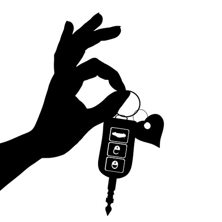 Vector silhouette of hand show of cars key on white background.