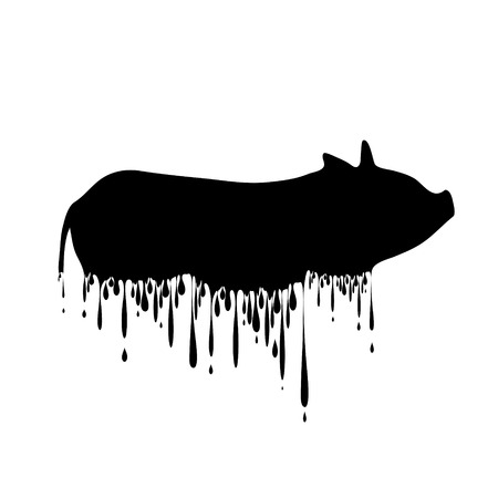 Vector silhouette of pig with drops on white background. Vektorové ilustrace