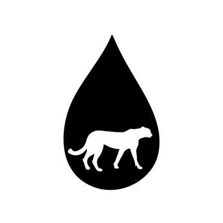 Vector silhouette of the cheetah in the drop on white background. Ilustracja