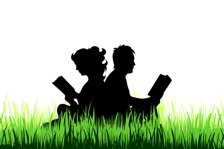 Vector silhouette of couple who read book on the meadow.