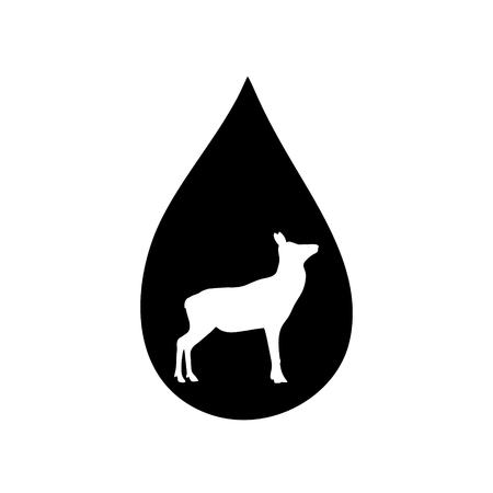 Vector silhouette of the hind in the drop on white background. Illusztráció