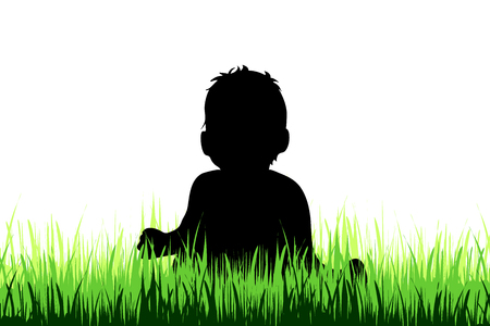 Vector silhouette of baby who play on the meadow. Illusztráció