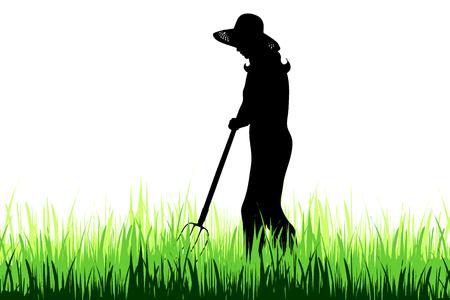 Vector silhouette of gardener on the garden.
