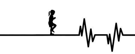 Vector illustration of heart pulse with child on a white background. Ilustração Vetorial