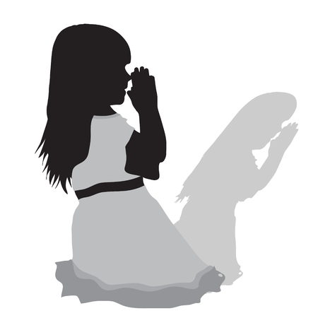 Vector silhouette of a girl who prays on white background. Иллюстрация