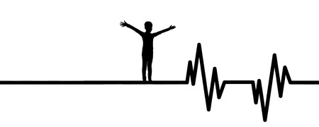 Vector illustration of heart pulse with child on a white background.