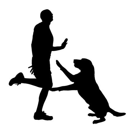 Vector silhouette of man who plays with his dog on white background.
