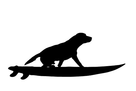 Vector silhouette of dog with surf board on white background.