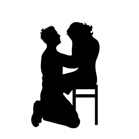 Vektorsilhouette des Paares auf weißem Hintergrund.