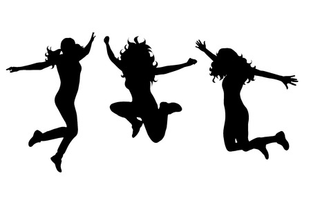 Vector silhouette of woman who jumps on white background. Illustration