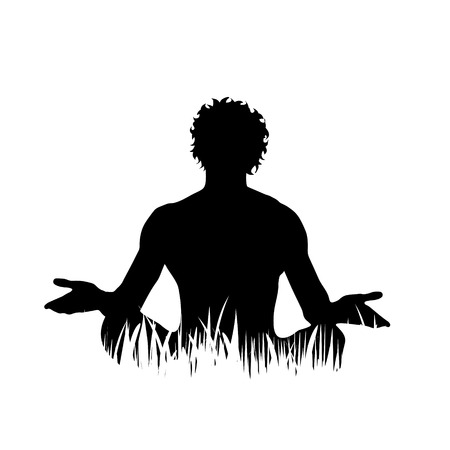 Vector silhouette of man who meditates on the grass on white background. Illusztráció