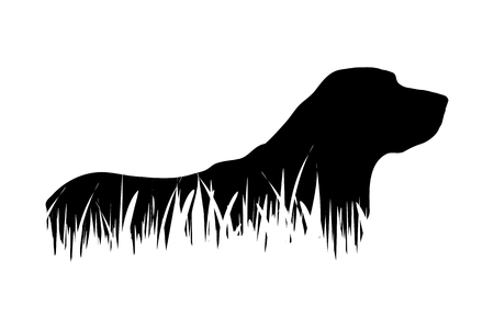 Vector silhouette of dog in the grass on white background.  イラスト・ベクター素材