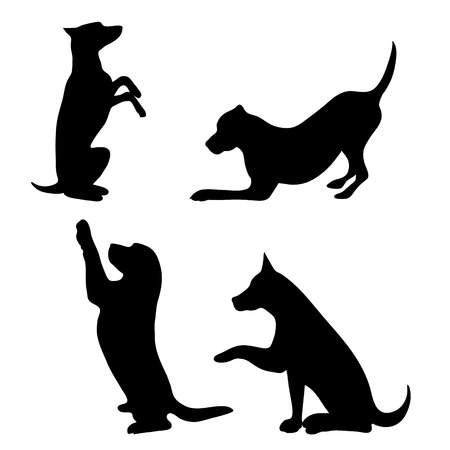 Vector silhouette of dog set on white background. 일러스트