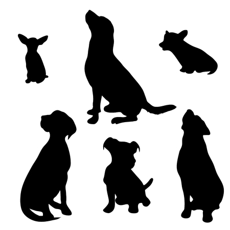 Vector silhouette of dog set on white background. Ilustrace