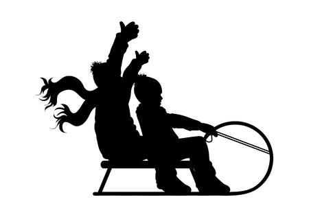 Vector silhouette of boys who sledding on snow toboggan.
