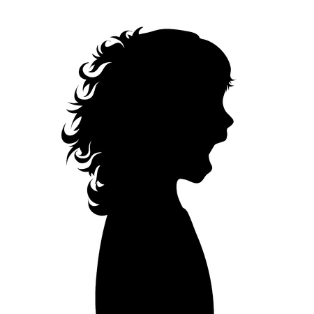Vector silhouette of face of girl in profile as she screams.