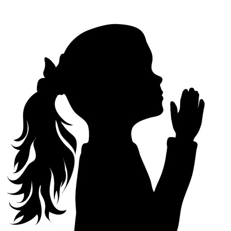 Vector silhouette of face of girl in profile as she prays.
