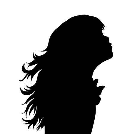 Vector silhouette of face of girl in profile as she give a kiss.