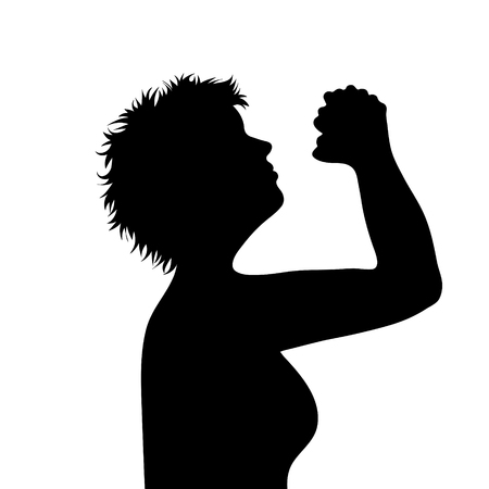 Vector silhouette of face of woman in profile as she prays.