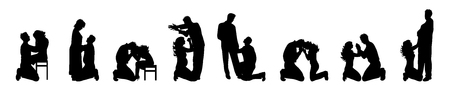 Vector silhouette of set of couple on white background.