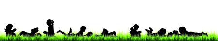 Vector silhouette of children who read on the garden on white background. Illustration