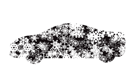 Vector illustration of car with snowflakes.