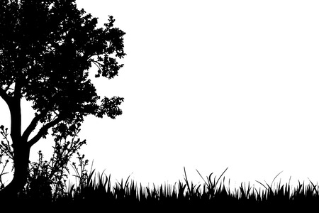 Vector silhouette of grass with tree in the fall.