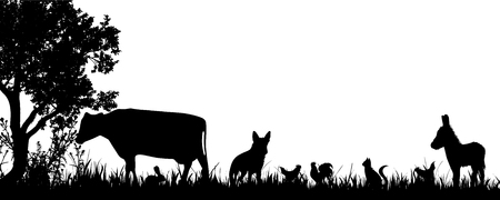 Vector silhouette of animals on the farm.