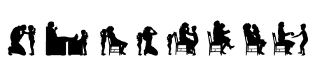 Vector silhouette of set of family sitting on the chair.