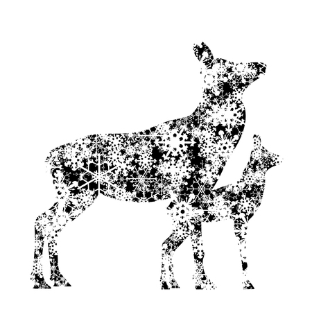 Vector silhouette of hind and baby hind with snowflakes.