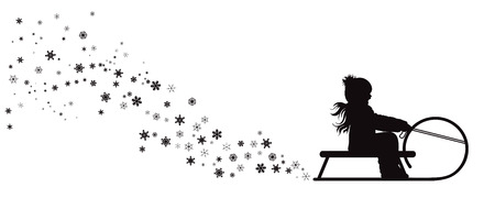 Vector silhouette of girl who sledding on snow toboggan.