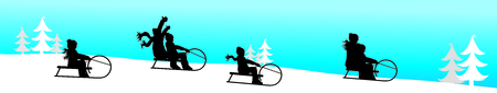 Vector silhouette of people who sledding on snow toboggan in the mountains in winter.
