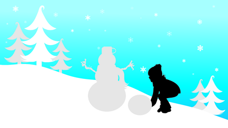 Vector silhouette of child who play with snow in the mountains in winter. Illusztráció