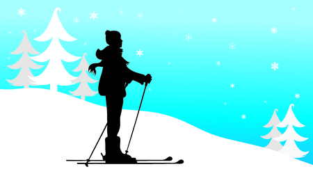 Vector silhouette of man who skiing in the mountains in winter.