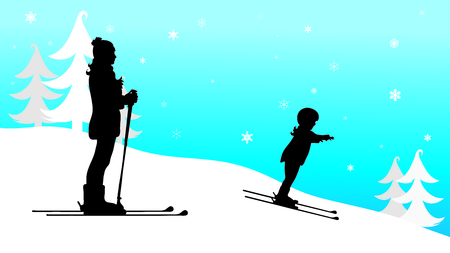 Vector silhouette of family who skiing in the mountains in winter.