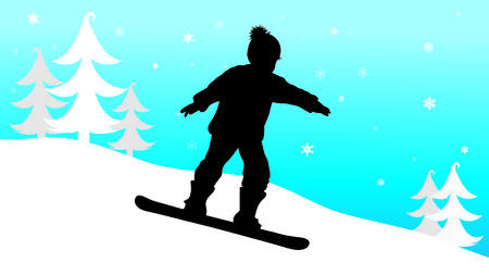 Vector silhouette of boy who snowboarding in the mountains in winter.